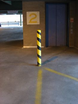 Spiral Painted Parking Pole by sharkyharpy