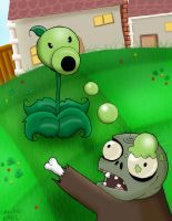 Peashooter and Zombie by Colhan3000