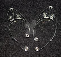 Silver Wire Elf Ears with Swirl Design by themotleymasquerade