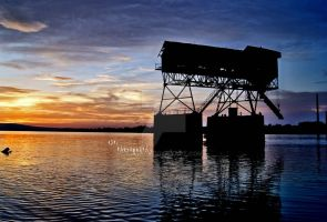 sunset behind the coal storage by oSpi