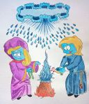 Smurfette and Greedy Smurf by KlausLee