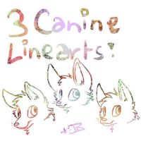 3 Canine Linearts by Spashai
