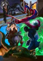 Spiderman and some enemies by Deputee