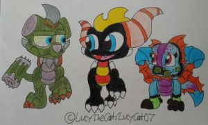Skylanders AU: Samuel with Rotten Smush and Tonix by LucyCat07