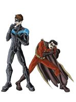Nightwing and Robin singing by phil-cho