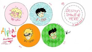 Alpha Kid Badge Buttons by magentanoir