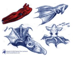 Vampire Squid Sketches by luckyraeve