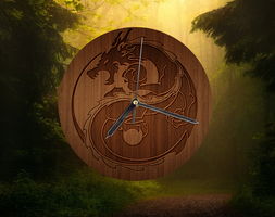 Wooden Dragon Clock for xwidget by jimking