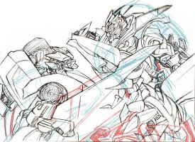 Sideswipe VS Sideways sketch by Colza666