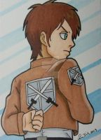 Comm: Eren Jaeger ACEO card by LadyNin-Chan