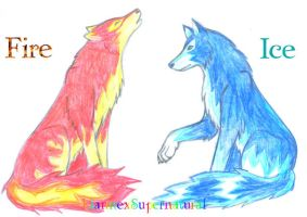 Fire and Ice Wolves :D by LiannexSupernatural