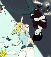 Adventure Time with Fionna, Cake and Marshall Lee by mrzbean