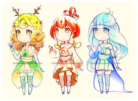 Elemental Adoptables (OPEN) by lycheebunny