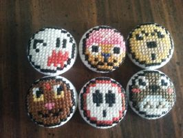 Side Characters (Random) Buttons by Sew-Madd