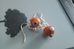 Orange Flower Earings by thepapercraftcouple