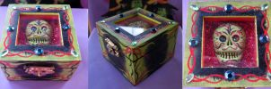 Zombie Glitzy Folk Art Sugar Skull Box by MyrcurysToybox