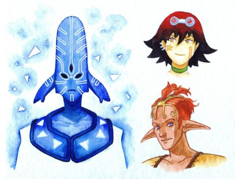 Oban Star Racers sketches by AkagenoSaru