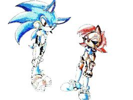 Mecha Sally and Cyber Sonic by SpaceStrippers