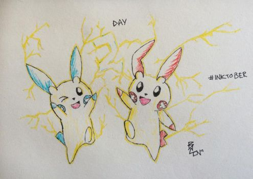 Plusle and Minun by br3ttl3w
