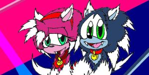 Sonic and Amy- Werepuppies by 5courgesbestbuddy