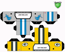 lions packers helmets by 1madhatter
