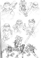 Ninja Turtles initial sketch by jellovicious