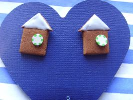 Gingerbread House Studs by tyney123