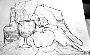 Drawing project 2: contour still life by McKravendrawings