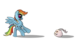 Rainbow Dash meets a Koromon by AaronMk