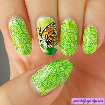 Freehand-butterfly-nail-art by Painted-Fingertips