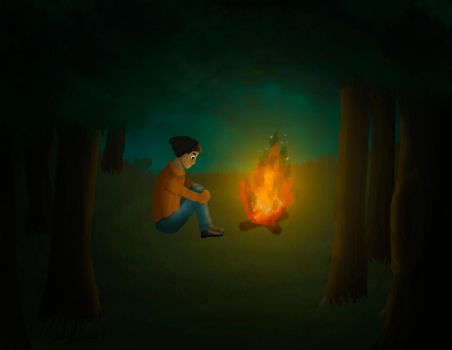 Night of wood fire by Tory-wolf