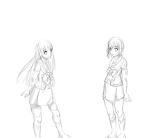 Saki and Maria Sketch by MoonstruckRabbit