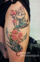swallows and anchor tattoo by mojoncio