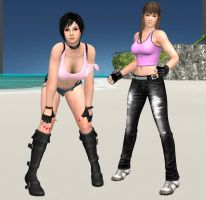 DOA - Victoria and Hitomi Poses by CaliburWarrior