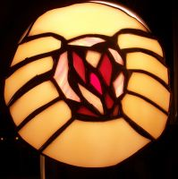 stained glass GOATSE suncatchr by StaindShardStudio