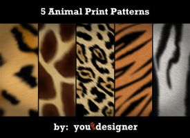 5 Animal Prints Photoshop Patterns by youthedesigner
