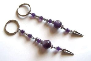 Amethyst and Pewter Key Chain by BastsBoutique