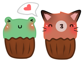 Wolfie and Froggy Cupcakes by PickleddEgg