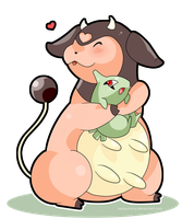 Miltank and Larvitar by SeviYummy