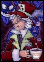 Mad Hatter ACEO Painting Alice by candcfantasyart