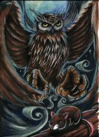 Owl catchs mouse by kurtcrawler