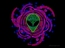 Psychedelic Alien - tee shirt print design by JefferyWright
