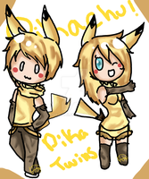 -: gijinka Pikachu twins adoptable -CLOSE- :- by Mako-chii