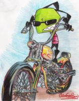 Zim and a motorcycle by ZimLover