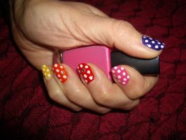Multicoloured Spotty Nails by Shadowoftheredrose
