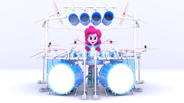 3D Pinkie Pie With Custom Drumset by MKevinAdam