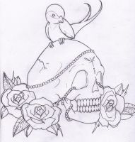 .skull and roses by anarchlien