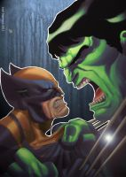 Hulk vs. Wolverine by joingaramo17