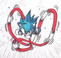 Sonic anime running by EUAN-THE-ECHIDHOG