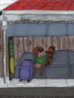 Fanart - Rigby on bus Stop by Gerardson